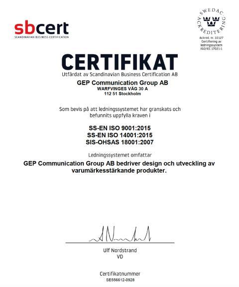 GEP säkrar miljö och kvalitet ytterligare med ISO, Fairtrade och GOTS