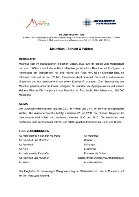 Allgemeine Informationen über Mauritius