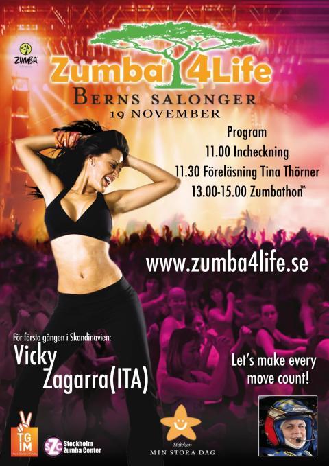 Tina Thörner inleder dagen och sedan blir det Zumba - enkla steg till glad musik