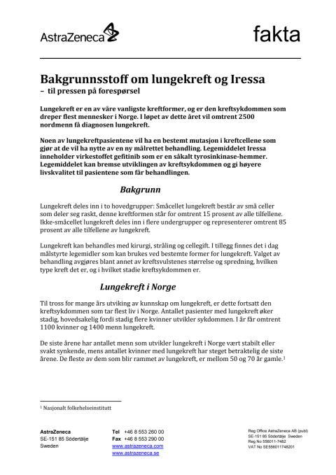 Bakgrunnsstoff om lungekreft og Iressa