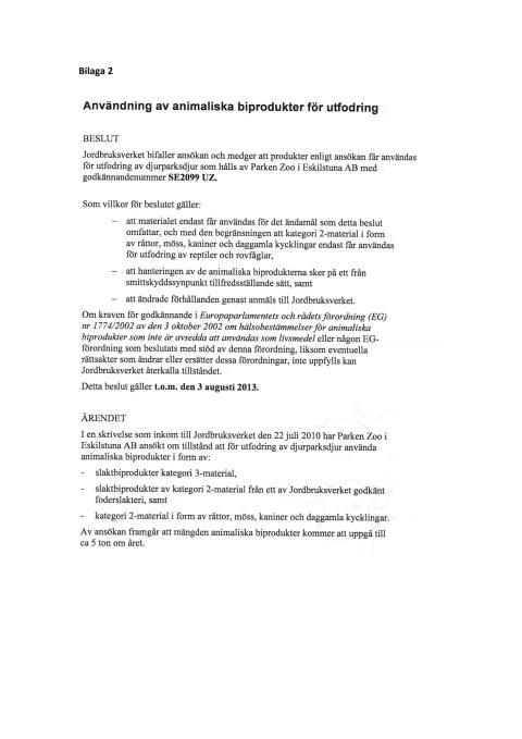 Bilaga 2 Jordbruksverkets, beslut, foderhantering