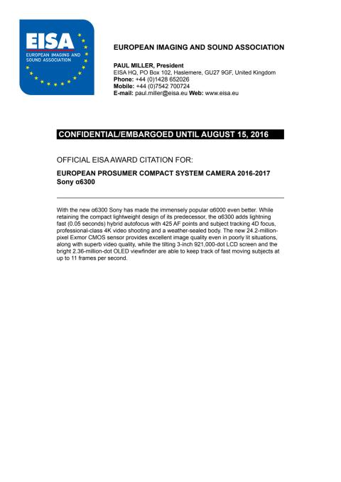 EISA Award Citation_Pro Compact System Lens
