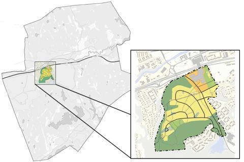 Planområdets placering i Partille kommun.