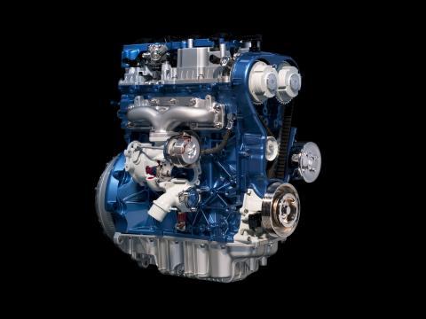 Fordin pääjohtaja Alan Mulally käynnistää 1.0-litraisten EcoBoost-moottorien tuotannon Kölnissä 9.11.2011