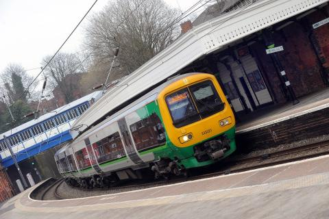 A Class 323 London Midland train travelling on the Cross City line.
