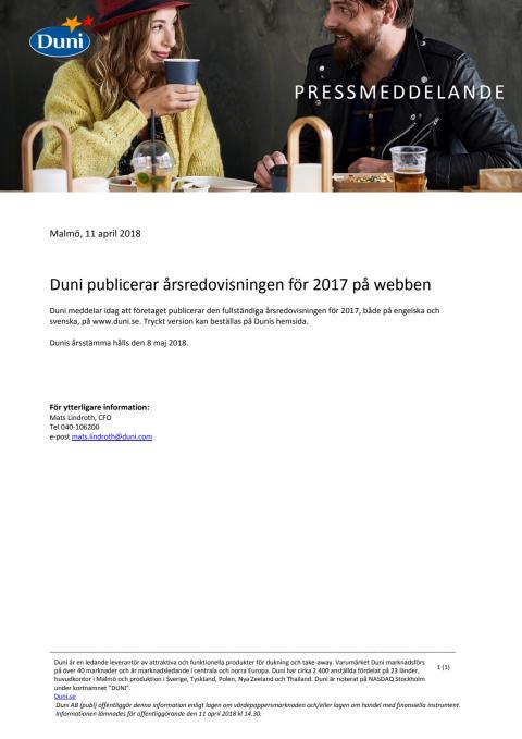 Duni publicerar årsredovisningen för 2017 på webben