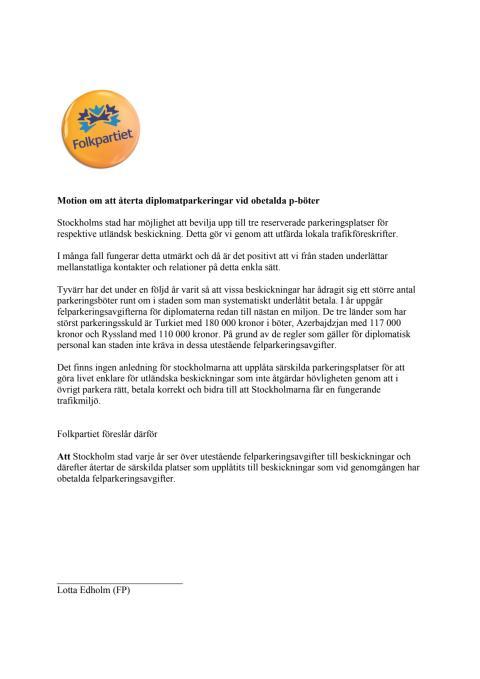 Motion om att dra in diplomatparkering vid obetalda parkeringsböter