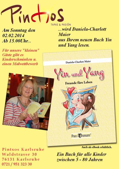 """Pax et Bonum Verlagsautorin Daniela Charlott Maier liest aus ihrem neuesten Buch """"Yin und Yang"""" im PINTXOS 76133 Karlsruhe"""