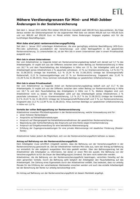 Informationsblatt zur Rentenversicherungspflicht bei geringfügigen Beschäftigungen mit Befreiungsantrag