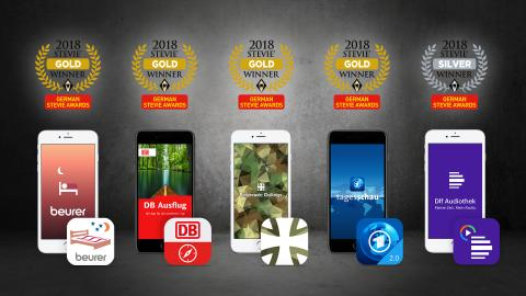 German Stevie Awards 2018: fünffache Auszeichnung für Apps der APPSfactory