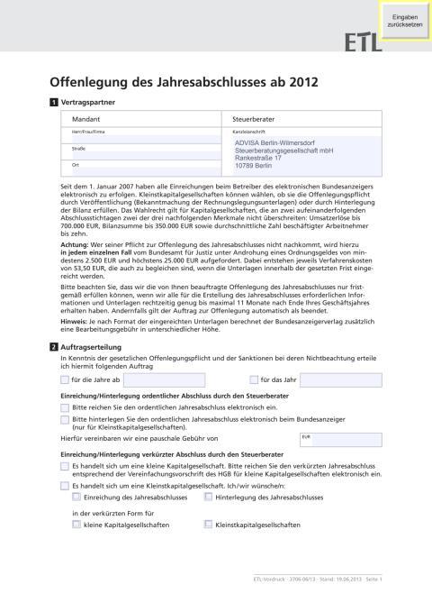 ADVISA - Beratungsprotokoll/Auftragserteilung Elektronische Offenlegung für Jahresabschlüsse ab 2012
