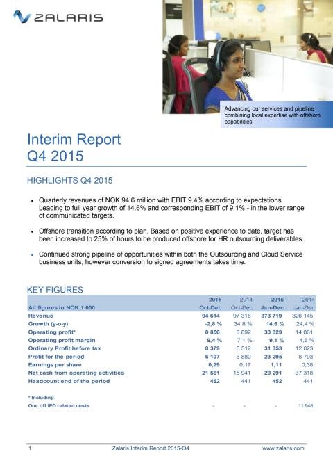 Zalaris Interim Report Q4 2015