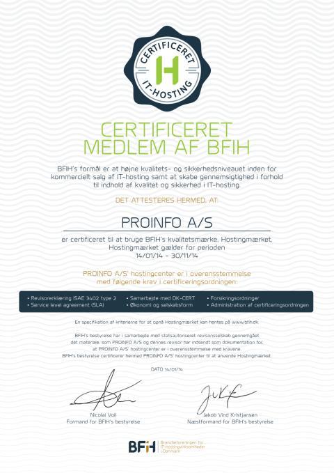 Certificeret medlem af BFIH