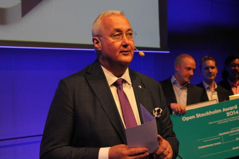 Sten Nordin vid prsiutdelningen Open Awards 27 maj 2014