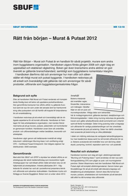 SBUF Informerar, nr. 12-18 Rätt från början – Murat & Putsat 2012