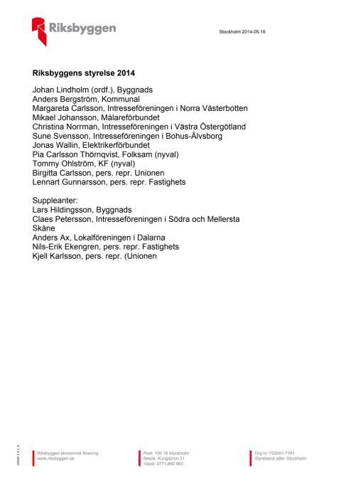 Riksbyggens styrelse 2014