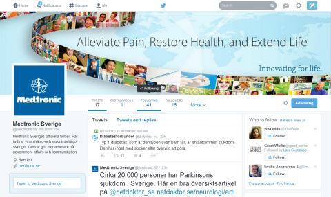 Nu finns MedtronicSverige på Twitter