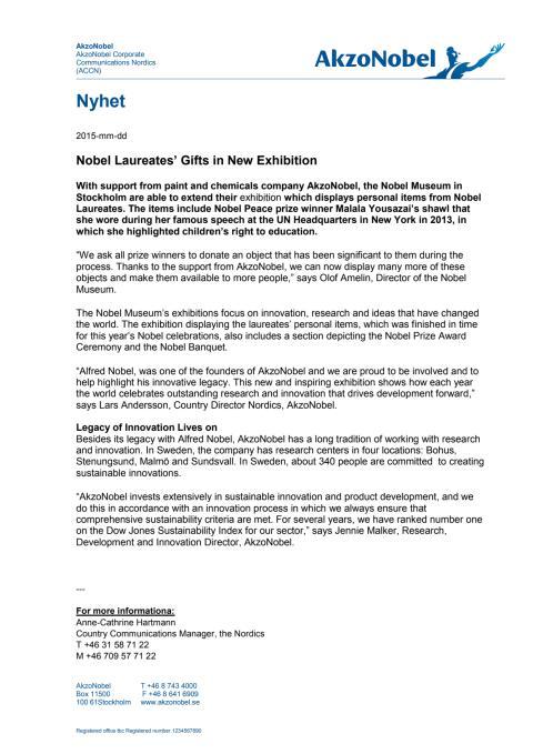 Nobel Laureates' Gifts in New Exhibition