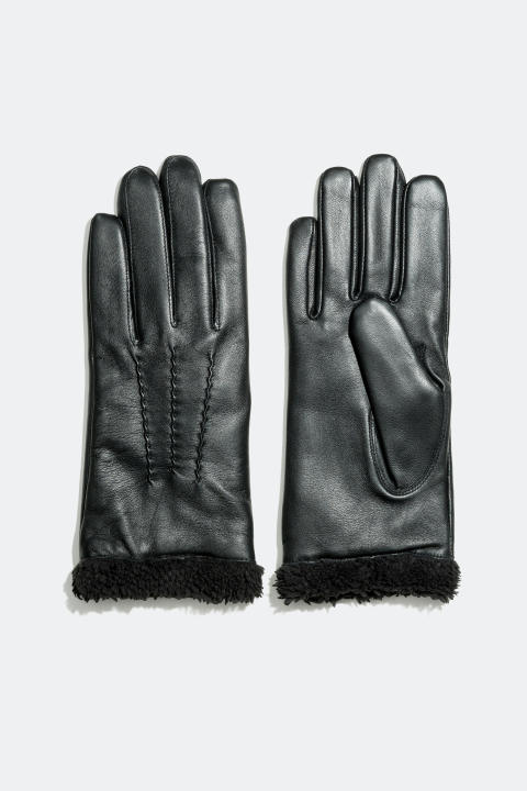 Leather gloves with faux fur lining