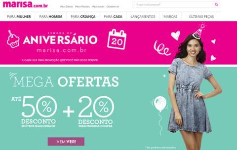Na semana de aniversário, loja virtual da Marisa oferece produtos com até 50% de desconto