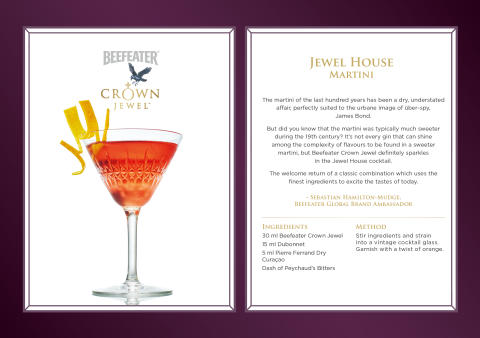 Beefeater Crown Jewel cocktailoppskrifter - Jewel House Martini