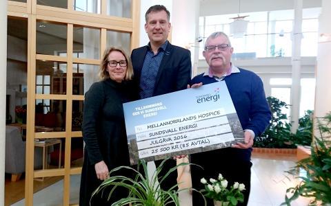 Nya elkunder ger Mellannorrlands Hospice 25 500 kr