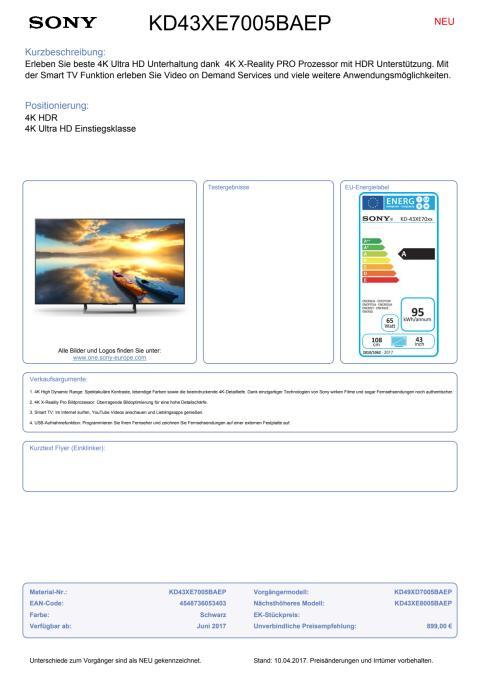 Datenblatt KD43XE7005BAEP von Sony