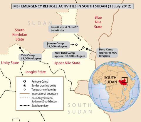 Karta över Läkare Utan Gränsers verksamhet i norra Sydsudan