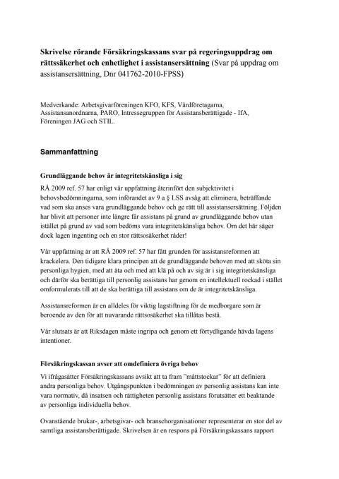 Skrivelse rörande Försäkringskassans svar på regeringsuppdrag om rättssäkerhet och enhetlighet i assistansersättning