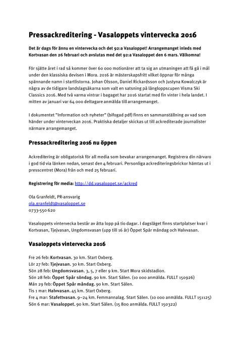 Inbjudan pressackreditering - vinterveckan 2016