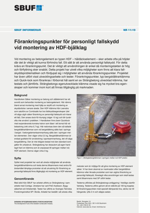 SBUF Informerar, nr. 11-19 Förankringspunkter för personligt fallskydd vid montering av HDF-bjälklag