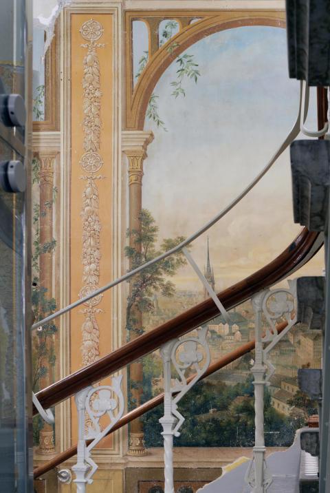 Dekormålning av Stockholm i Börsens trapphus