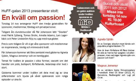 HuFF-galan 14 nov 2013. Agneta Sjödin, Magnus Jernemyr, Pär Johansson och hemlig gäst!