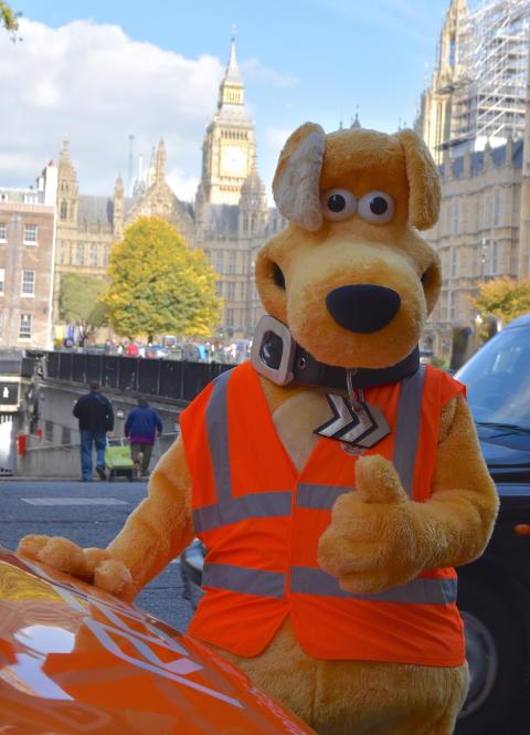 Horace, RAC van and Big Ben - it's a thumbs up!
