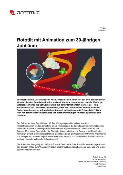 Rototilt mit Animation zum 30-jährigen Jubiläum