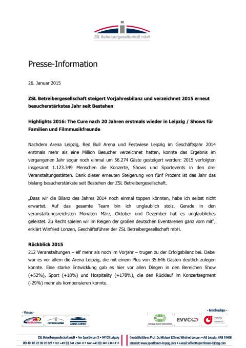 Pressemitteilung der ZSL Betreibergesellschaft