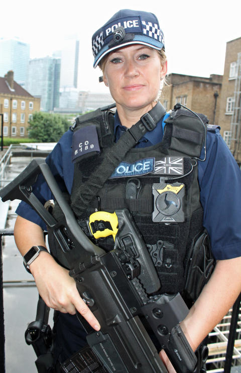 Armed police officer with Body Worn Video