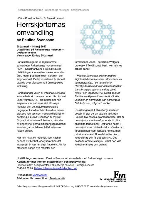 Pressmeddelande Herrskjortornas omvandling av Paulina Svensson
