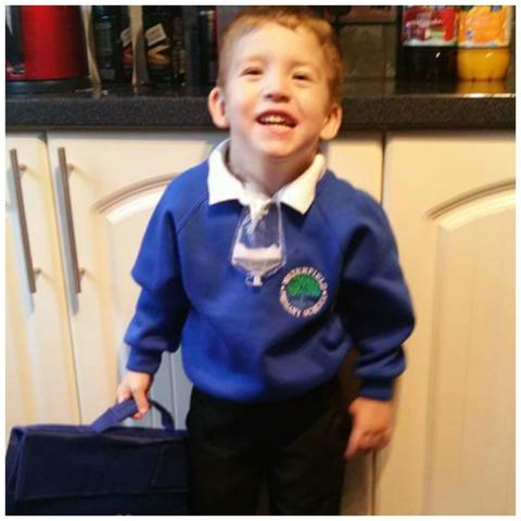 Little Jay who defied doctors' expectations packs his bag ready for school