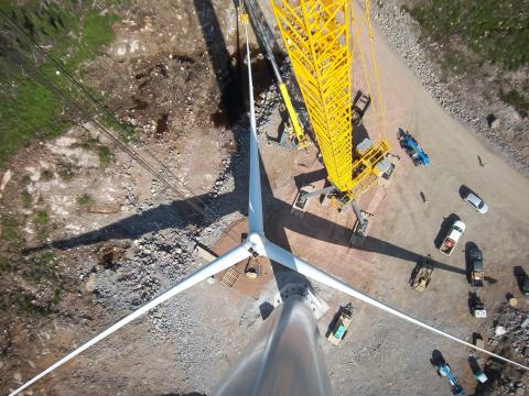 Aerial view of turbine construction at the Greenwich Wind Energy Project in Ontario, Canada