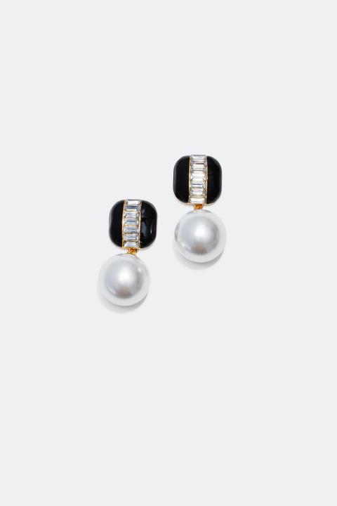 Statement-øredobber med stor perle