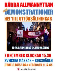 Pressinbjudan - ny manifestation mot utförsäljningen i Rannebergen