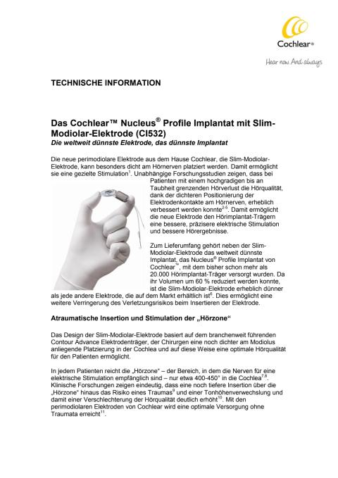 TECHNISCHE INFORMATION - Cochlear™ Nucleus® Profile Implantat mit Slim-Modiolar-Elektrode (CI532)