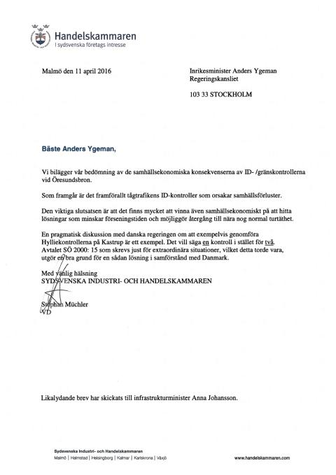 Brev till Anders Ygeman angående ID-/gränskontroller