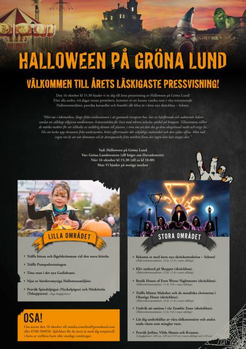 Välkommen till pressvisning av Halloween på Gröna Lund