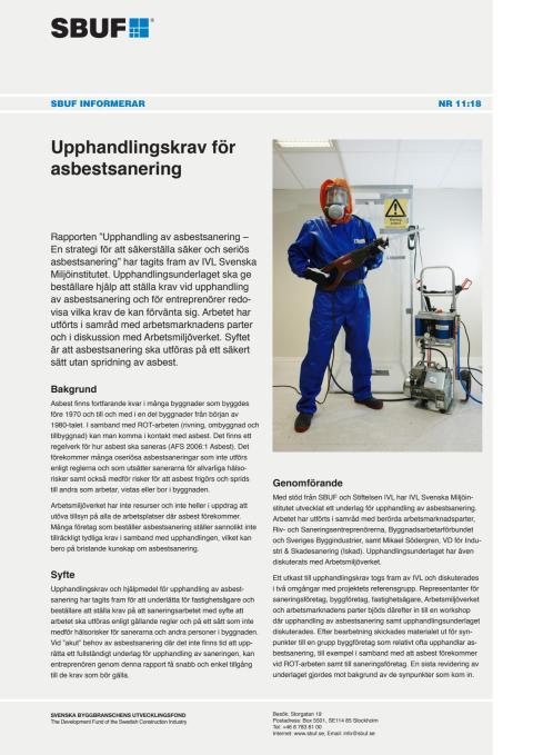 SBUF Informerar, nr. 11-18 Upphandlingskrav för asbestsanering