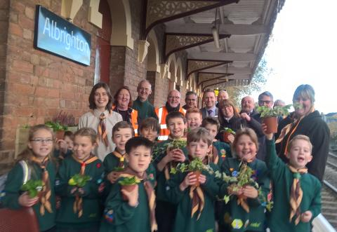 The 1st Albrighton Scouts group, brightening up Albrighton station.