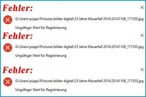 Gelöst - Ungültiger Wert für Registrierung beim Öffnen von Fotos