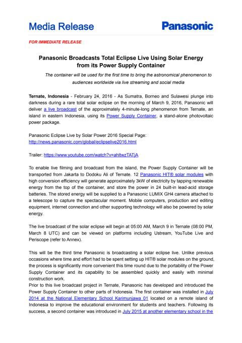 Panasonic Broadcasts Total Eclipse Live Using Solar Energy from its Power Supply Container