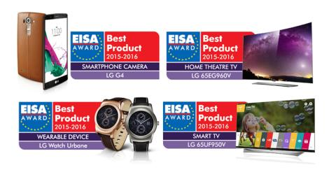 FIRE PRISER TIL LG ELECTRONICS VED EISA AWARDS 2015-2016